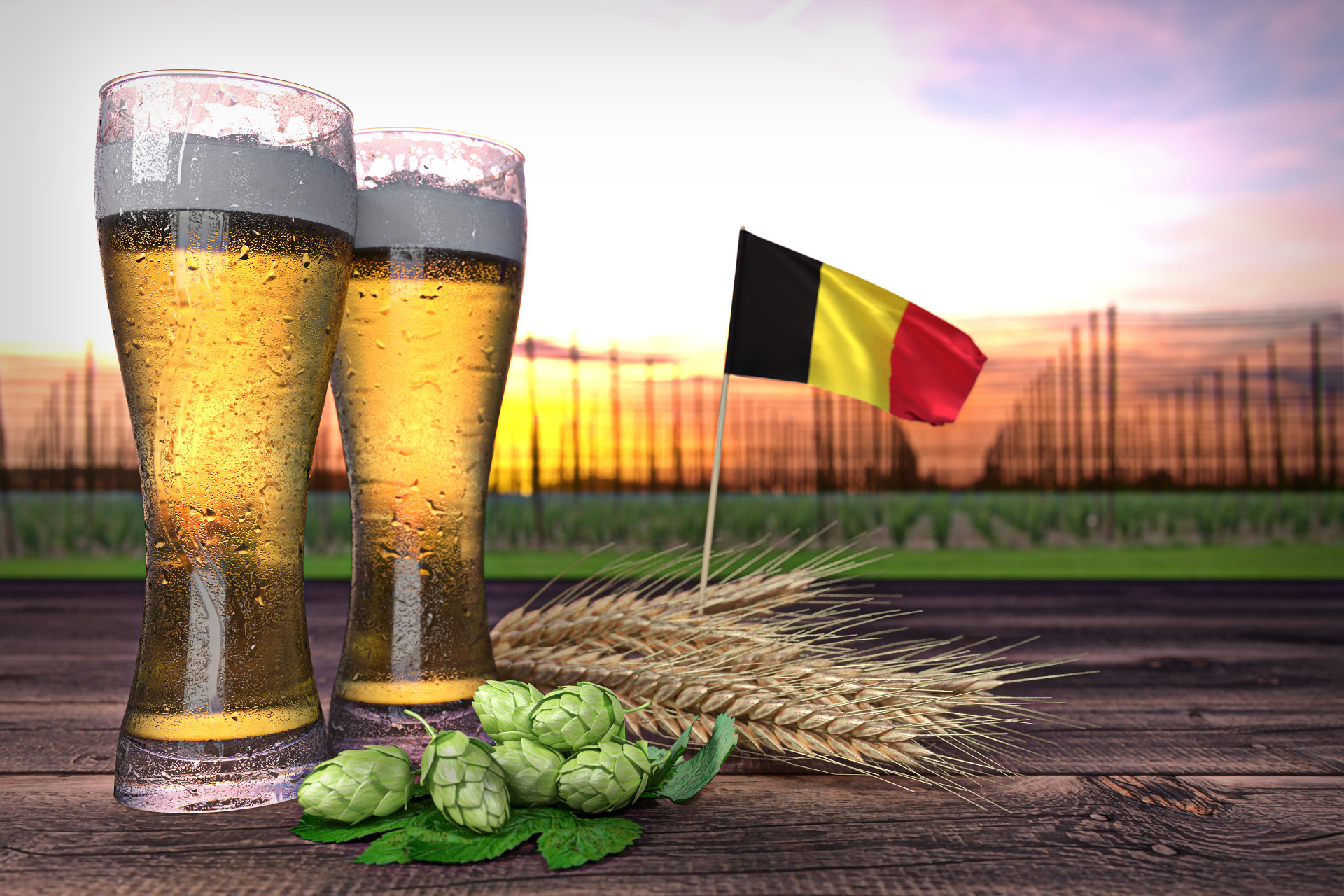 Picture of beer glasses and flag of Belgium
