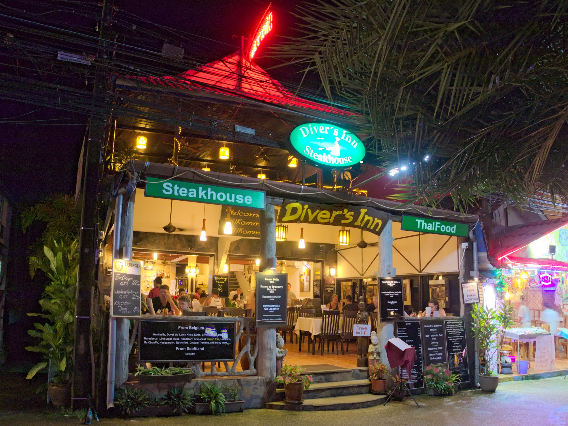 photo at night of steakhouse restaurant ao nang krabi